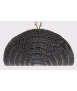 CARLO FELLINI BLACK BEADED EVENING CLUTCH WITH LONG & SHORT CHAIN - £11.44 GBP