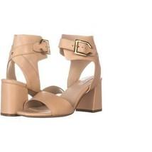 Cole Haan Avani Mid Heeled Buckle Sandals 198, Nude Leather, 6 US - $56.63