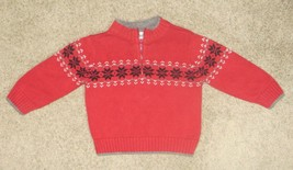 Gymboree Holiday Red Snowflake Zip Sweater Size 12-18 12 18 Months - $12.19