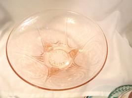 "HAZEL ATLAS GLASS CO. ROYAL LACE PINK 10"" 3-LEGGED STRAIGHT-EDGE CONSOLE... - $36.25"