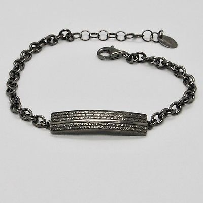 SILVER 925 BRACELET BURNISHED BLACK, MAN WOMAN BY MARY JANE IELPO MADE IN ITALY
