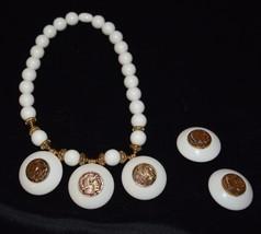 Porcelain & Brass Choker Necklace & Clip-on Earrings Greek Phara... - $19.63