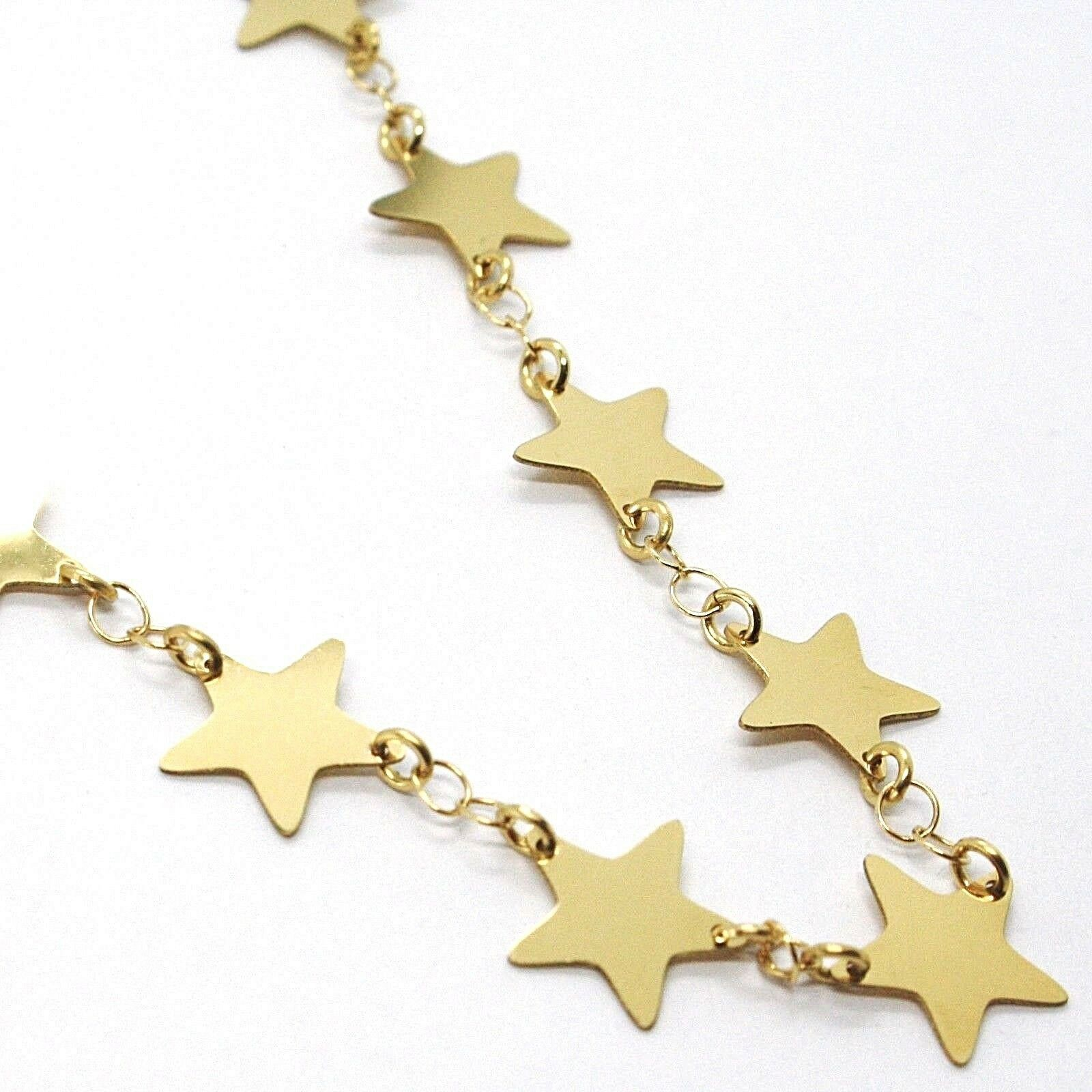 18K YELLOW GOLD NECKLACE, FLAT STARS, STAR, 16 INCHES, MADE IN ITALY
