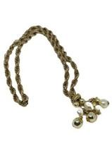 Vintage Necklace Gold tone Link Chain TwistTassels Dangle Faux Pearl Acc... - $14.84