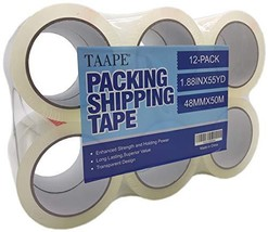 "TAAPE 12 Rolls Heavy Duty Packing Tape, 1.88 inch x 55 Yards, 2.7 Mil, 3"" Core,"