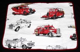 2-Pc VTG Red Fire Trucks Reversible Plaid Side TWIN Quilt Comforter Set ... - $89.99