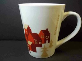 Starbucks tapered china coffee mug White Red Holiday Houses 2013 12 oz C... - $9.13