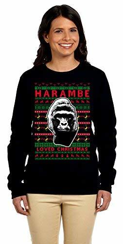 Primary image for 12.99 Prime Tees Women's Harambe Loved Christmas Ugly Christmas Sweater Sweatshi