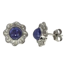 925 Sterling Silver 6 MM Round Tanzanite Flower Design Tiny Stud - $14.80