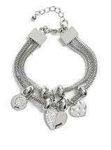 NWT Guess Silver Metal Mesh Clear Rhinestone He... - $21.77