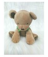"6"" Carters Bear Tan Brown w Green Bow Plush Baby Toy #41547 Lovey Rare B84 - $12.97"
