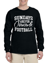Men's Long Sleeve Sundays Are For Jesus And Football Humor - $14.94+