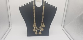 Vintage Gold Tone Combo Snake & Rope Chain With 6 Brush Pendants Hanging... - $19.32