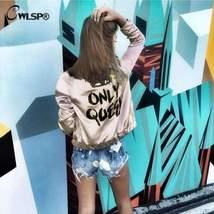 CWLSP Fashion Women Basic Coats Satin Silk Champagne Gold Bomber Jacket ... - $33.36