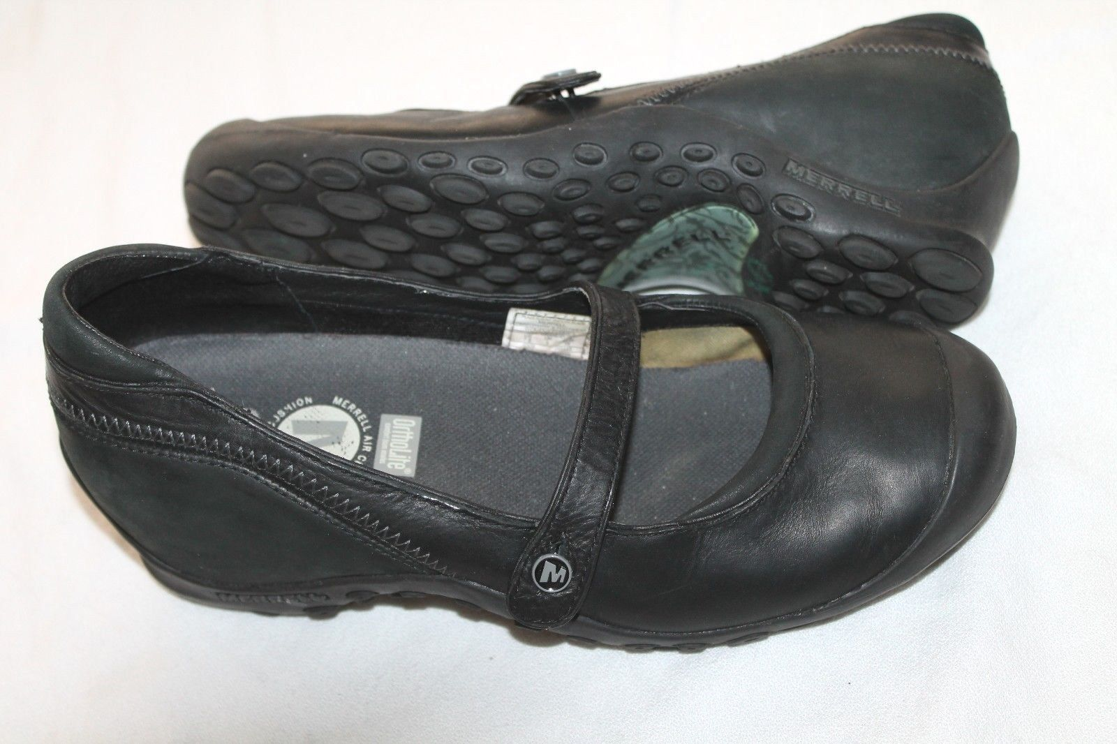 MERRELL Plaza Flaunt Smooth Black Peformance Shoes Womens Size 7.5
