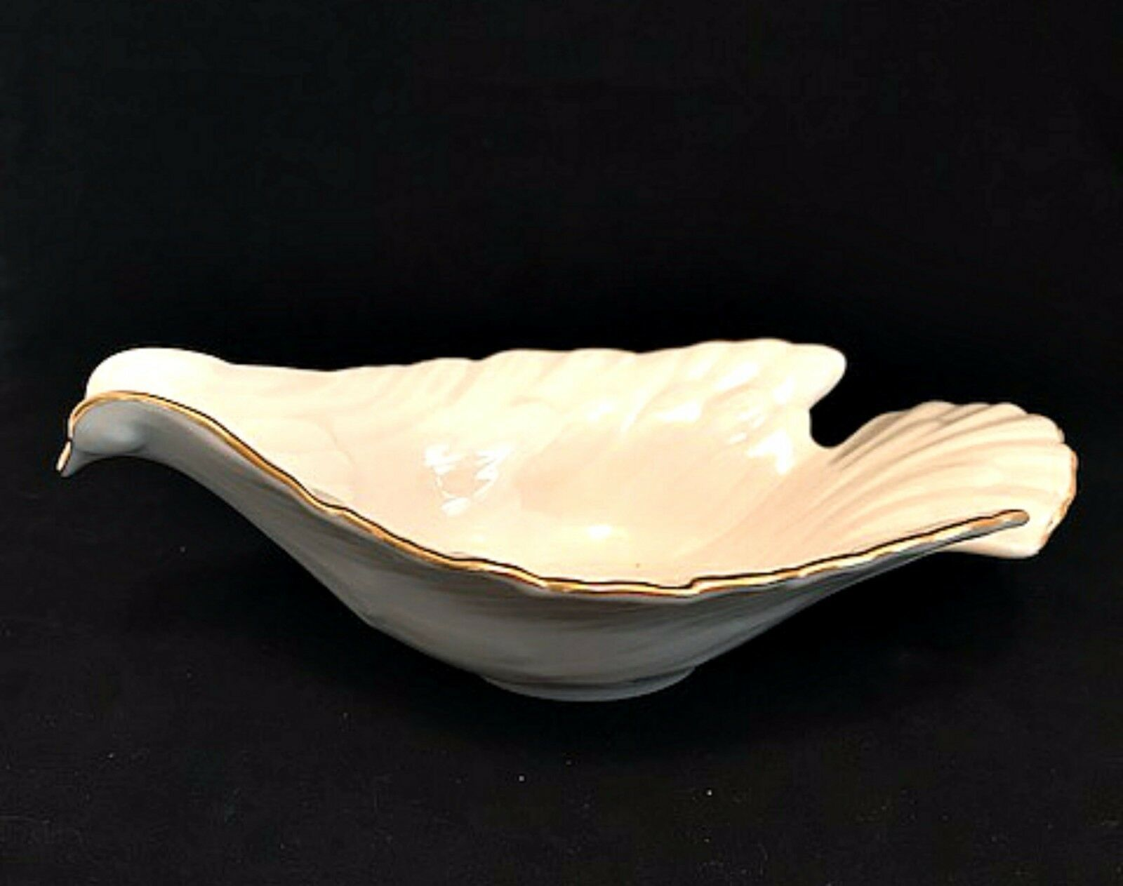 Lenox Dove Candy Nut Dish Ivory 24K Gold Trim Made in USA 7.75 inches Long - $34.64