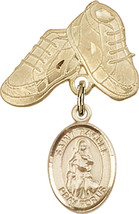 14K Gold Filled Baby Badge with St. Rachel Charm and Baby Boots Pin 1 X 5/8 inch - $102.90