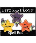 Fitz and Floyd 2006 Halloween Spellbound canape snack Plates set 4 wizar... - $47.77
