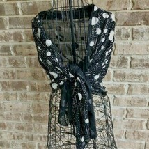 Black Scarf Silver Metallic Designs Fringed Ends 27 x 54 inches Retro Ar... - $22.30