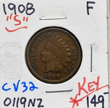 1908S Indian Head Cent Penny Coin Lot# CV32