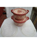 6 PC TEMPTATIONS OLD WORLD RED MIXING BOWLS COVERS PLASTIC CERAMIC 1.0 1... - $34.64