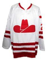 Any Name Number Calgary Cowboys Retro Hockey Jersey New Bromley White Any Size image 1
