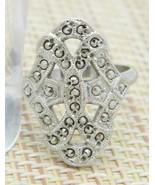 Marcasite Silver Tone Art Nouveau Style Cocktail Ring Size 7.25 Vintage - $29.69