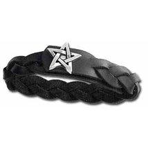 Pentagram Gaelic Plait Mens Leather Bracelet by Alchemy Gothic - $23.99