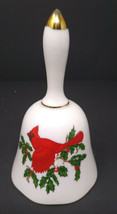 Lefton China Red Cardinal Porcelain Christmas Bell #01069 Hand Painted  - $20.56