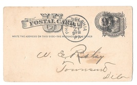 Sc UX5 1880 Philadelphia PA 4 Ring Numeral 9 Duplex Fancy Cancel Postal Card - $9.95