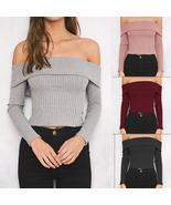 New 2018 Spring Tops Plus Size Women Clothing Slash Neck Women Sweaters ... - $25.44+