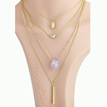 UE- Layered Gold Tone Faux Amethyst & Swarovski Style Crystal Pendant Necklace  - $19.99