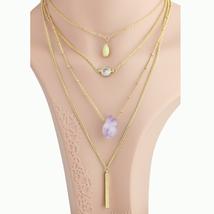UE- Layered Gold Tone Faux Amethyst & Swarovski Style Crystal Pendant Ne... - $19.99