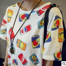 Summer Women cartoon Cans Printed Loose Short sleeve T shirt Harajuku style shir