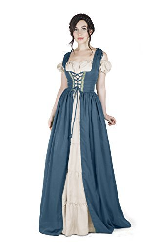 Renaissance Medieval Irish Costume Over Dress & Boho Chemise Set (L/XL, Teal)