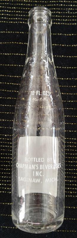 Vintage Chapman's Beverages 10 oz. Soda Pop Bottle from Saginaw, MI - Near Mint