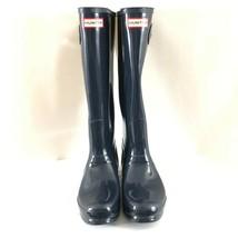 Hunter Womens Rain Boots Original Tall Gloss Navy Blue Rubber Size 10 - $96.74