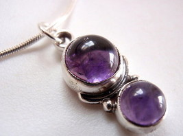 New Amethyst Dbl Sphere 925 Sterling Silver Necklace - $18.76