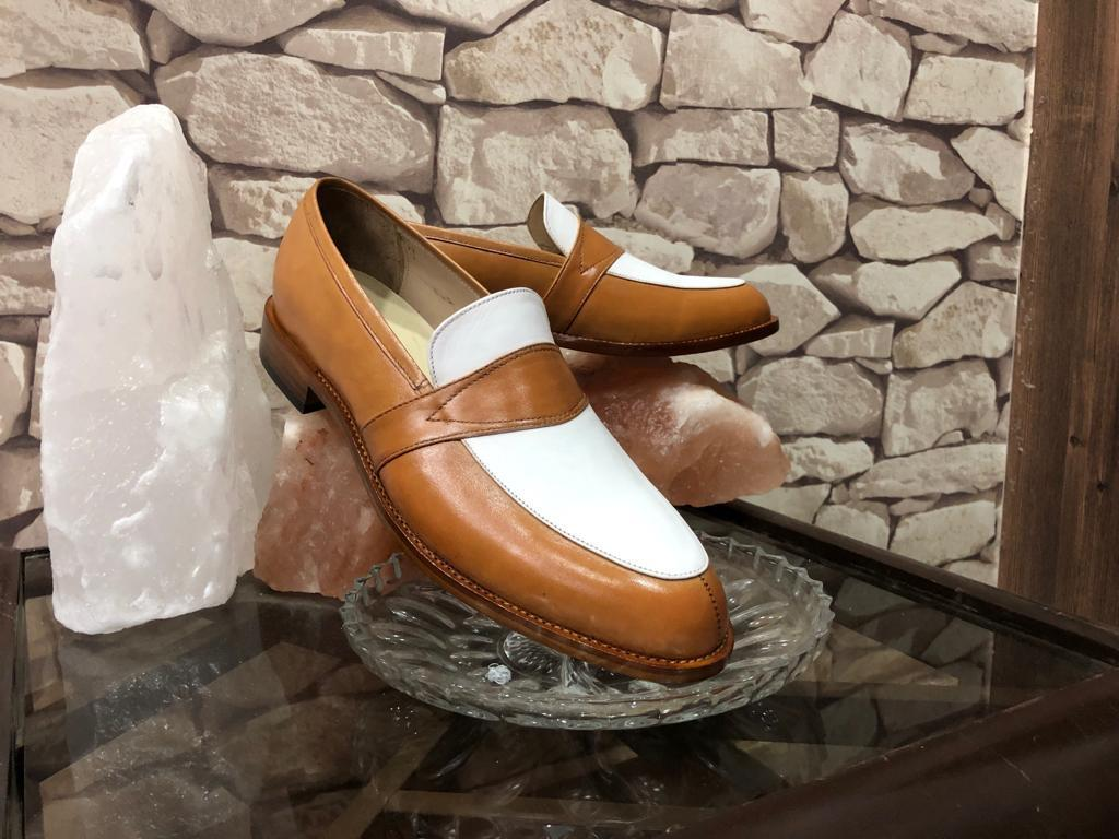 Handmade Men's Brown White Slip Ons Dress/Formal Leather Shoes