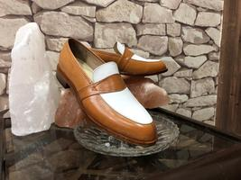 Handmade Men's Brown White Slip Ons Dress/Formal Leather Shoes image 1
