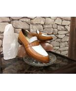 Handmade Men's Brown White Slip Ons Dress/Formal Leather Shoes - $139.99+