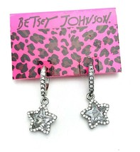 Betsey Johnson Silver Tone Glass Crystal Star Drop Earrings NOS - $27.72