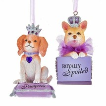 KURT ADLER SET OF 2 ROYAL SPLENDOR DOG IN PURSE CHRISTMAS ORNAMENTS T2774 - $24.88