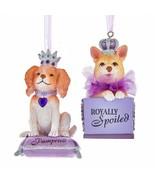 KURT ADLER SET OF 2 ROYAL SPLENDOR DOG IN PURSE CHRISTMAS ORNAMENTS T2774 - $24.88