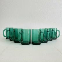 Set of 8 Mid Century Modern Green & Gold Coffee Mugs Libbey Juniper Green Glass - $56.43