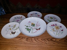 """6 Pc Set Rosenthal Selb Germany Floral w/Butterfly - 5 Salad Plates, 10.5"""" Bowl - $44.50"""