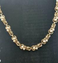 Vtg. Crown Trifari Demi Faux Pearl & Gold Tone Choker Necklace - $34.95