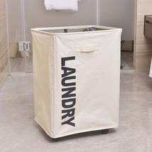 Portable Single Lattice Mesh Bundle Mouth Laundry Basket with Wheel White - $30.50