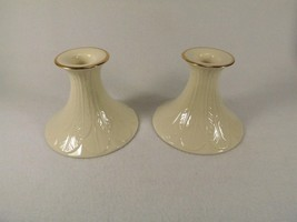 """Lenox Pair of Candle Holders Tapers Leaves Embossed Gold Trim Gold Mark 3 1/2"""" image 1"""