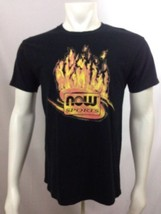 Now Sports Now Foods T Shirt Black with Flames Workout M Medium Cotton  - $19.60